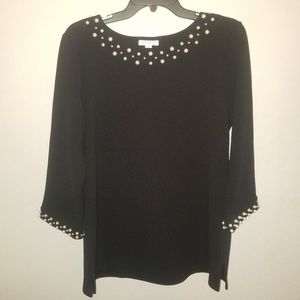 Charter Club Black Blouse with Pearl Embelishments